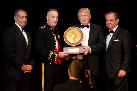 John Mack, left, Commandant of the Marine Corps Gen. Joseph F. Dunford Jr., second left, and Steven Wallace, right, the Co-founder of Marine Corps-Law Enforcement Foundation (MC-LEF), award Donald J. Trump during the MC-LEF 20th Annual Semper Fidelis Gala at New York, N.Y., April 22, 2015. Trump was a recipient of the Commandant's Leadership award at the event. (U.S. Marine Corps photo by Sgt. Gabriela Garcia/Released)