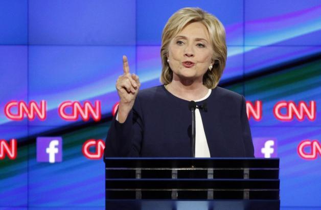 Hillary Rodham Clinton speaks during the CNN Democratic presidential debate Tuesday, Oct. 13, 2015, in Las Vegas. (AP Photo/John Locher)
