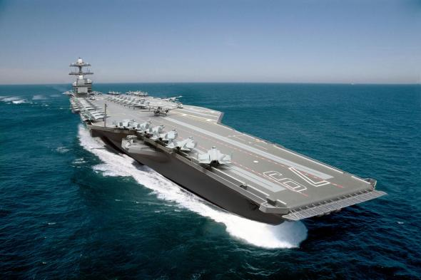 A composite photo illustration representing the Ford-class aircraft carrier, USS John F. Kennedy (CVN 79).  The carrier, under construction at Newport News Shipbuilding, is the second Ford-class nuclear-powered aircraft carrier and the second U.S. Navy carrier named for the 35th U. S. President.