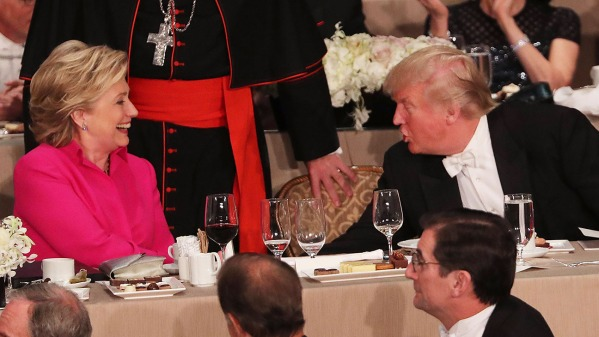 NEW YORK, NY - OCTOBER 20: Hillary Clinton speaks briefly with Donald Trump while attending the annual Alfred E. Smith Memorial Foundation Dinner at the Waldorf Astoria on October 20, 2016 in New York City.The white-tie dinner, which benefits Catholic charities and celebrates former Governor of New York Al Smith, has been attended by presidential candidates since 1960 and gives the candidates an opportunity to poke fun at themselves and each other. (Photo by Spencer Platt/Getty Images)