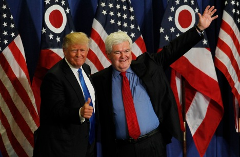CINCINNATI, OH- JULY 6: Former Speaker of the House Newt Gingrich (R) introduces Republican Presidential candidate Donald Trump during a rally at the Sharonville Convention Center July 6, 2016, in Cincinnati, Ohio. Trump is campaigning  in Ohio ahead of the Republican National Convention in Cleveland next week.     (Photo by John Sommers II/Getty Images)