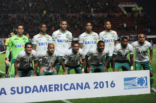 In this Nov. 2, 2016 photo, players of Brazil's Chapecoense team pose before a Copa Sudamericana soccer match against Argentina's San Lorenzo in Buenos Aires, Argentina. A plane carrying the Brazilian first division soccer club Chapecoense team that was on it's way for a Copa Sudamericana final match against Colombia's Atletico Nacional crashed in a mountainous area outside Medellin, Colombian officials said Tuesday, Nov. 29. (AP Photo/Gustavo Garello)