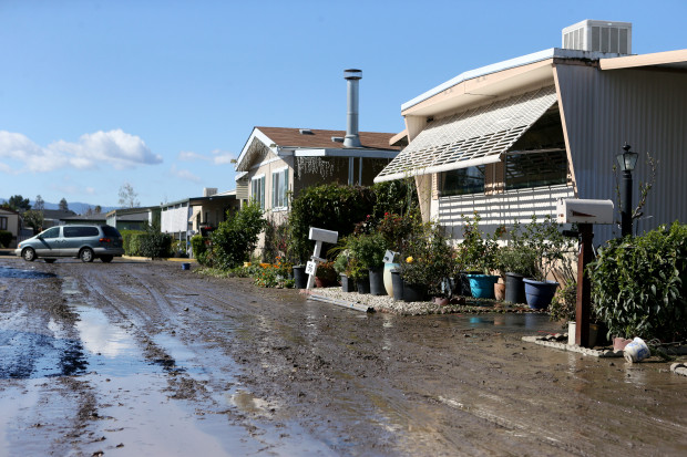 A coating of mud remains on the roadway at the South Bay Mobile Home Park following recent flooding in San Jose, Calif., on Thursday, Feb. 23, 2017. (Anda Chu/Bay Area News Group)